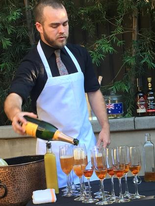 Our Aussie-born mixologist, Peter Lloyd-Jones, hard at work at 1886 bar at The Raymond.