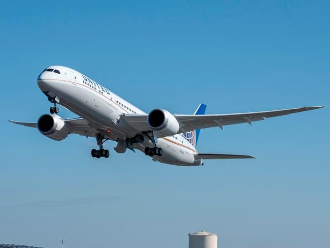 A United Airlines Boeing 787-9 Dreamliner.