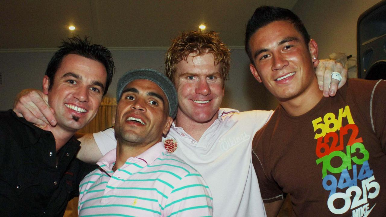 Lance Thompson (second right) and Anthony Mundine (second left) were friends for 25 years.