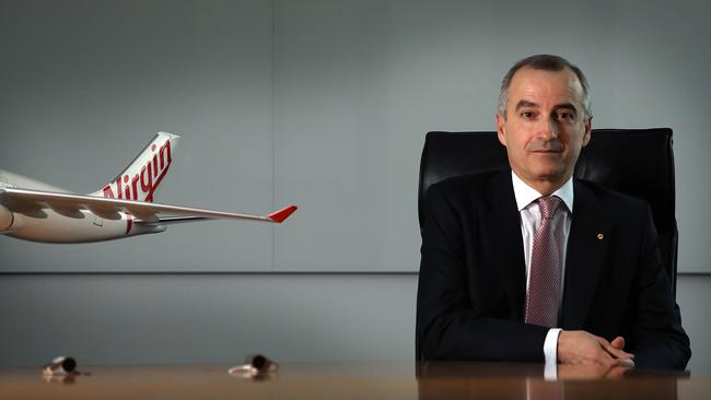Virgin CEO John Borghetti at his offices in Sydney. He has announced his resignation today and will be leaving the airline in January 2020. Picture: James Croucher