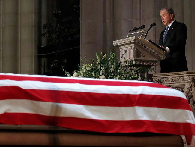 George W. Bush became emotional when remembering his father. Picture: AFP