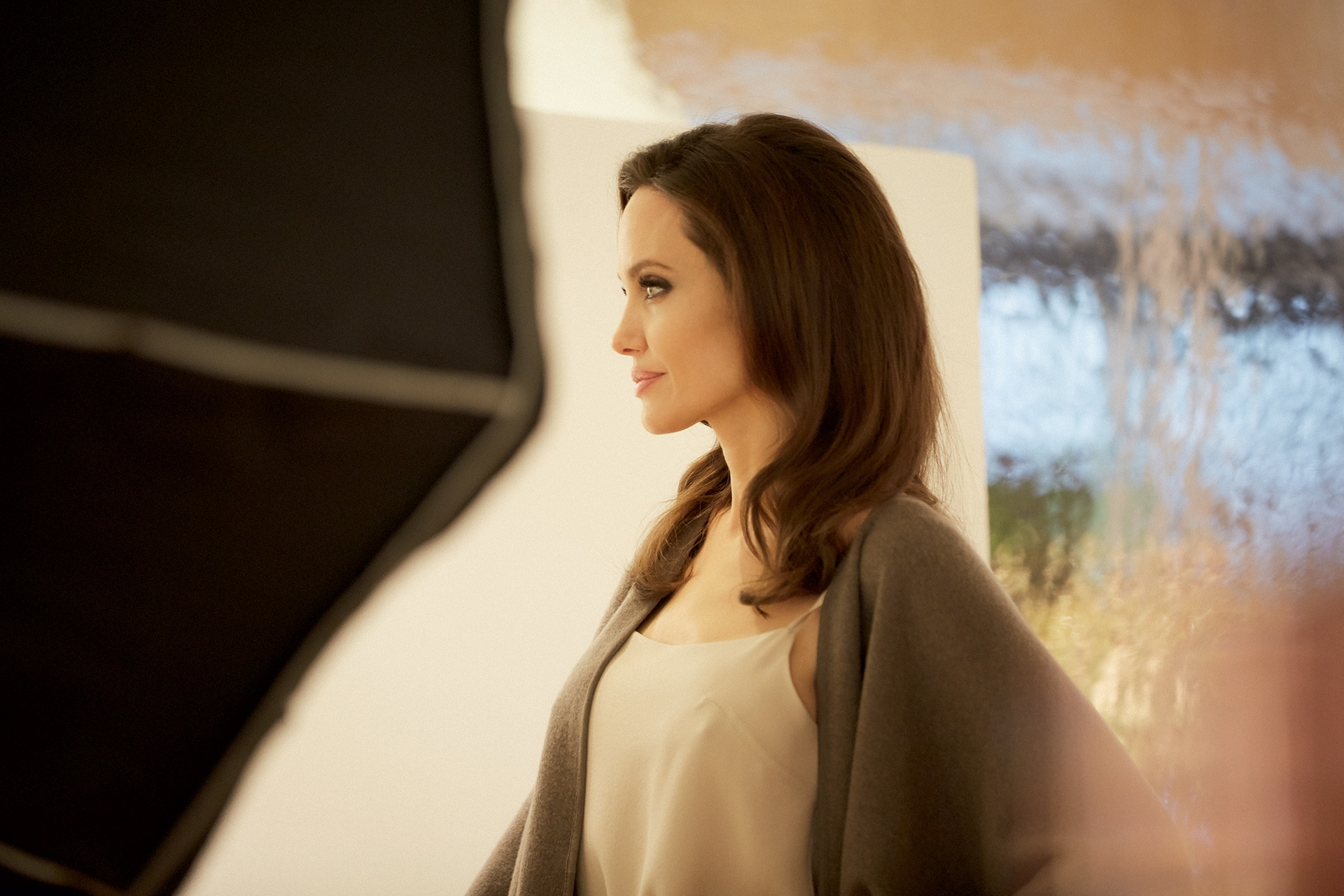 Angelina Jolie on set for Guerlain. Image credit: Benjamin de Lapparent