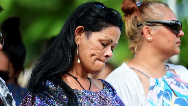 The boys' mother Leeanne Chrysilla Eatts at their memorial ceremony. Picture: Alix Sweeney.