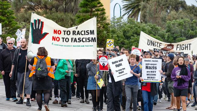 An anti-right wing group marches in St Kilda. Picture: Sarah Matray