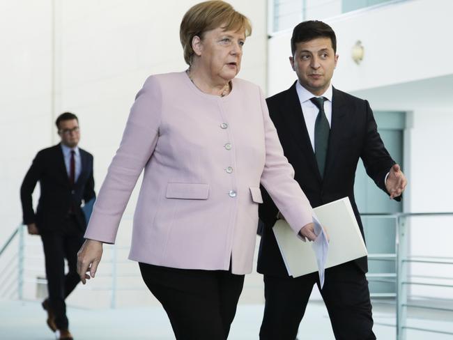 German Chancellor Angela Merkel hosted newly elected Ukrainian President Volodymyr Zelenskiy. Picture: AP