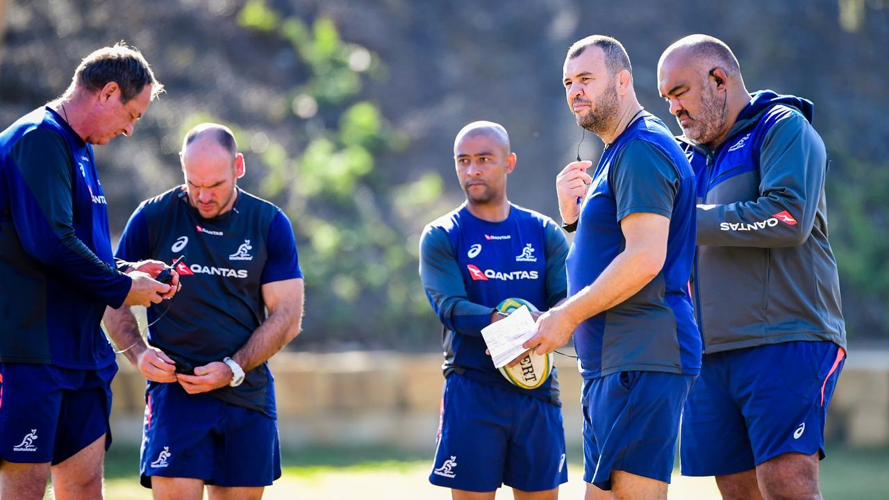 Assistant coaches Mick Byrne, Nathan Grey, George Gregan, head coach Michael Cheika and Simon Raiwalui. Photo: Rugby AU Media/Stuart Walmsley