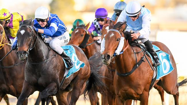 River Racer (right) stormed home to win at the Gold Coast. Picture: AAP