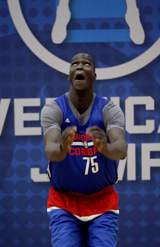 Thon Maker, from Orangeville Prep-Athlete Institute, participates in the NBA Draft Combine.