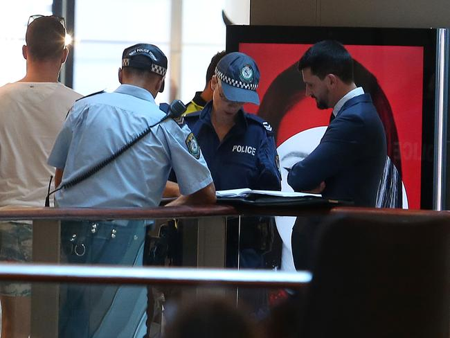 Police at Westfield Bondi after Bernard Gore's body was found in the stairwell three weeks after he disappeared and lay undiscovered in the centre's stairwell. Picture: News Corp.