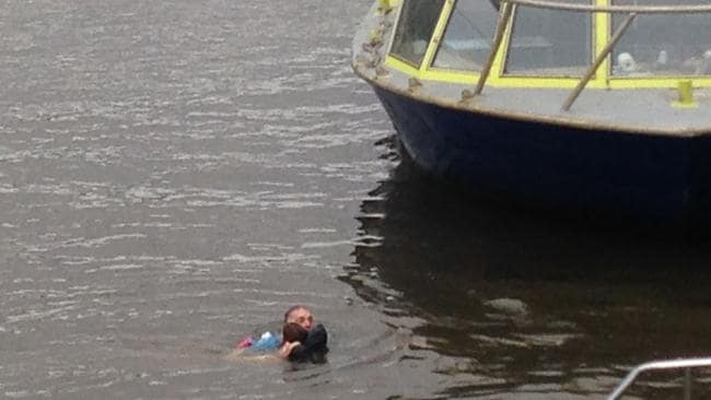 The passenger pulled the child to safety. Picture: Paddy Naughtin.