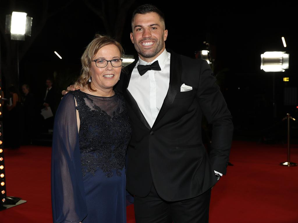 James Tedesco with his mum Rosemary during the 2019 Dally M Awards at the Hordern Pavillion, Sydney. Picture: Brett Costello
