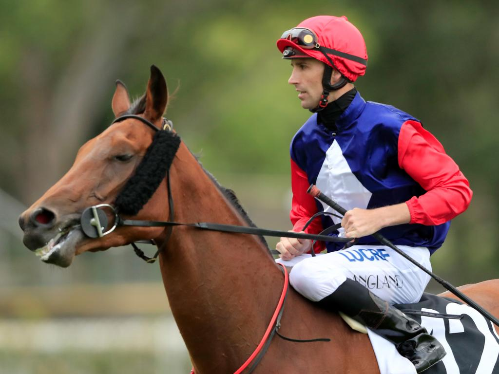 Tye Angland on Sweet Deal after winning a race at Rosehill in November.