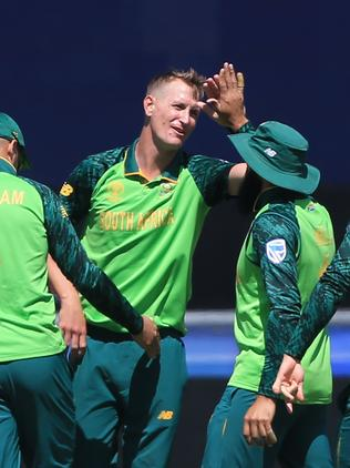 South Africa's Chris Morris celebrates a wicket.