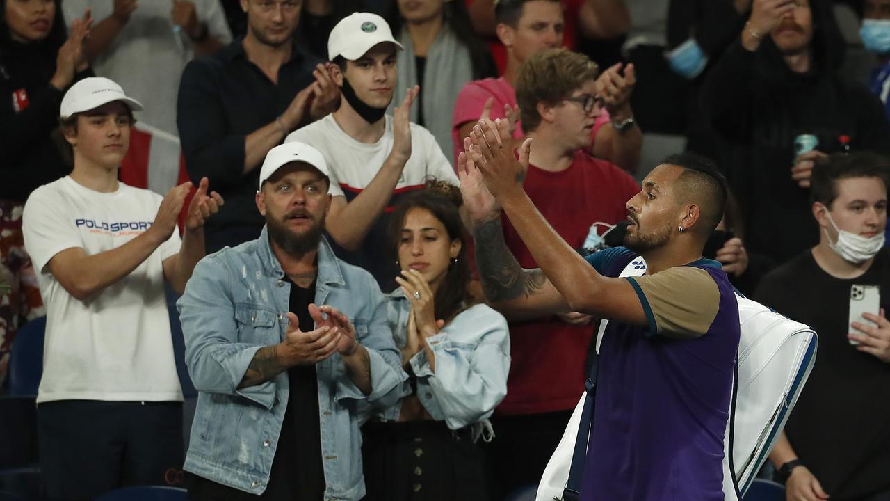 Nick Kyrgios thanks fans. (Photo by Daniel Pockett/Getty Images)