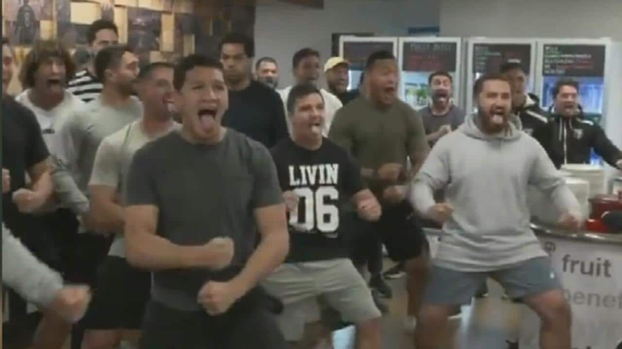 The New Zealand Kiwis players perform the haka for Liverpool FC.