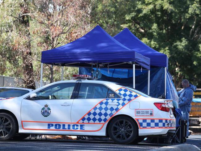 The crime scene on Blyth St, Murrumba Downs. Picture: Annette Dew