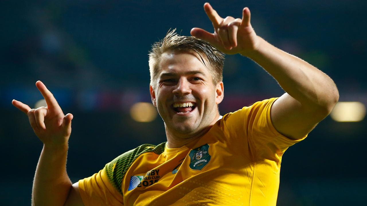 Drew Mitchell of Australia celebrates victory over Wales at the 2015 Rugby World Cup.