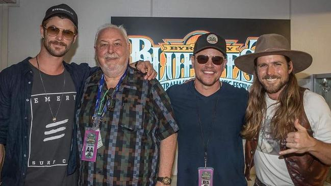 Chris Hemsworth and Matt Damon attend Bluesfest at Byron Bay. Source: Instagram @bluesfestbyronbay