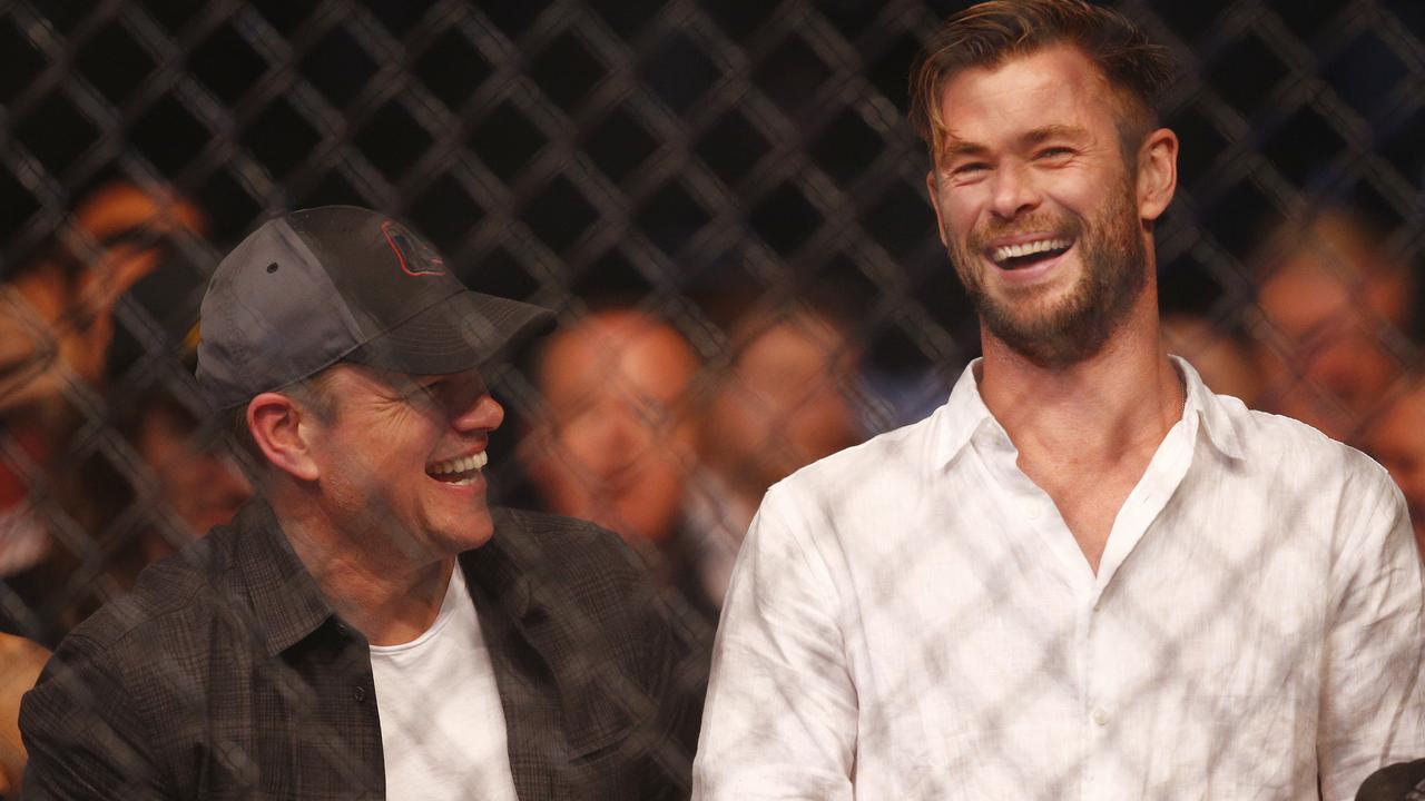 Matt Damon (left) and Chris Hemsworth. Photo: AAP Image/Daniel Pockett
