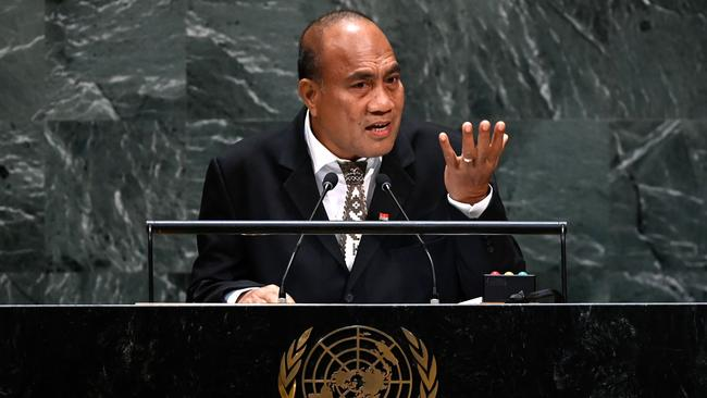 Kiribati President Taneti Maamau, here speaking at the UN last month. The report can only be read in his office. Picture: Johannes EISELE / AFP.