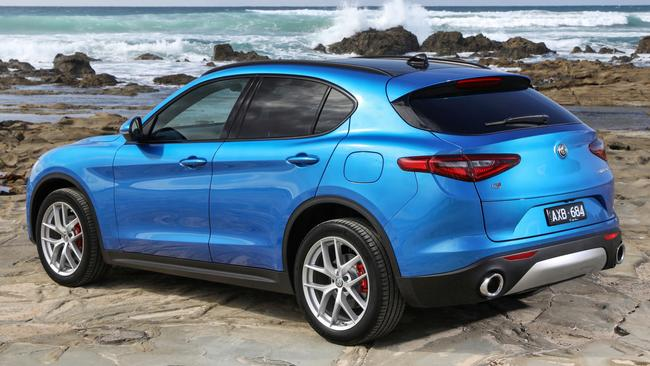 The Stelvio Ti has red brake callipers and bigger wheels. Picture: Supplied.