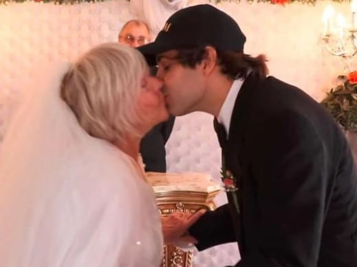 The couple's first kiss. Picture: David Dobrik/YouTube