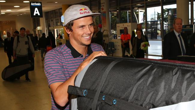 Julian Wilson arrives home. Picture: Richard Dobson