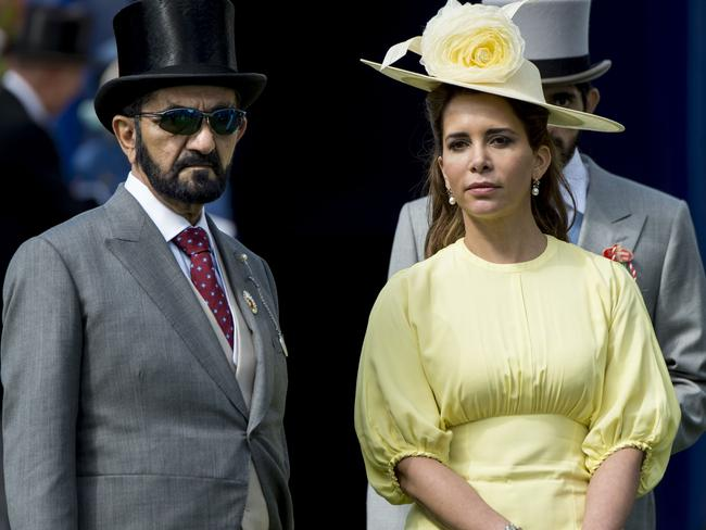 Princess Haya Bint Al Hussein, above with the Sheikh at Derby day in Epsom, England, in 2017 has now fled with their children. Picture: Mark Cuthbert.