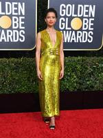 British actress Gugu Mbatha-Raw arrives for the 77th annual Golden Globe Awards on January 5, 2020, at The Beverly Hilton hotel in Beverly Hills, California. (Photo by VALERIE MACON / AFP)