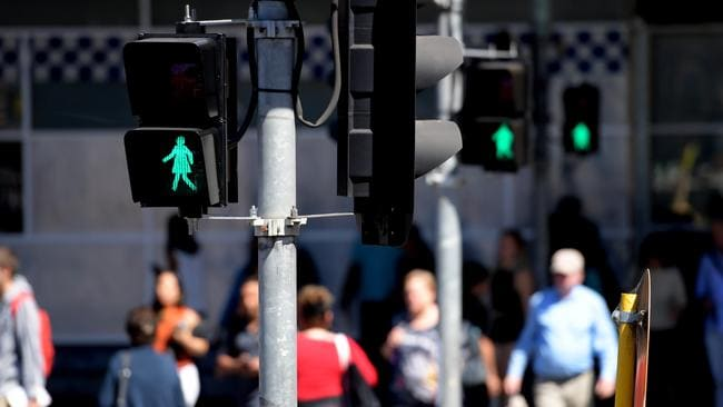 Female pedestrian figures were installed at the intersection of Swanston and Flinders streets as part of a 12-month trial in Melbourne. Picture: AAP Image/Tracey Nearmy