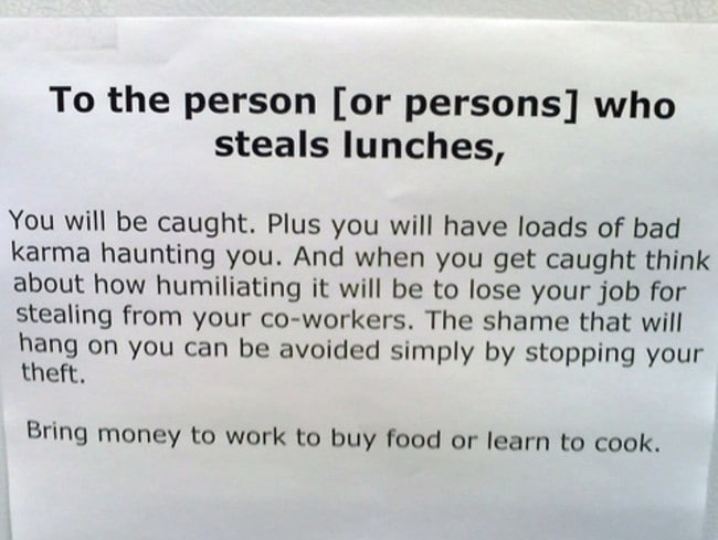 Someone was angry about lunch thieves at this workplace kitchen. Picture: Supplied