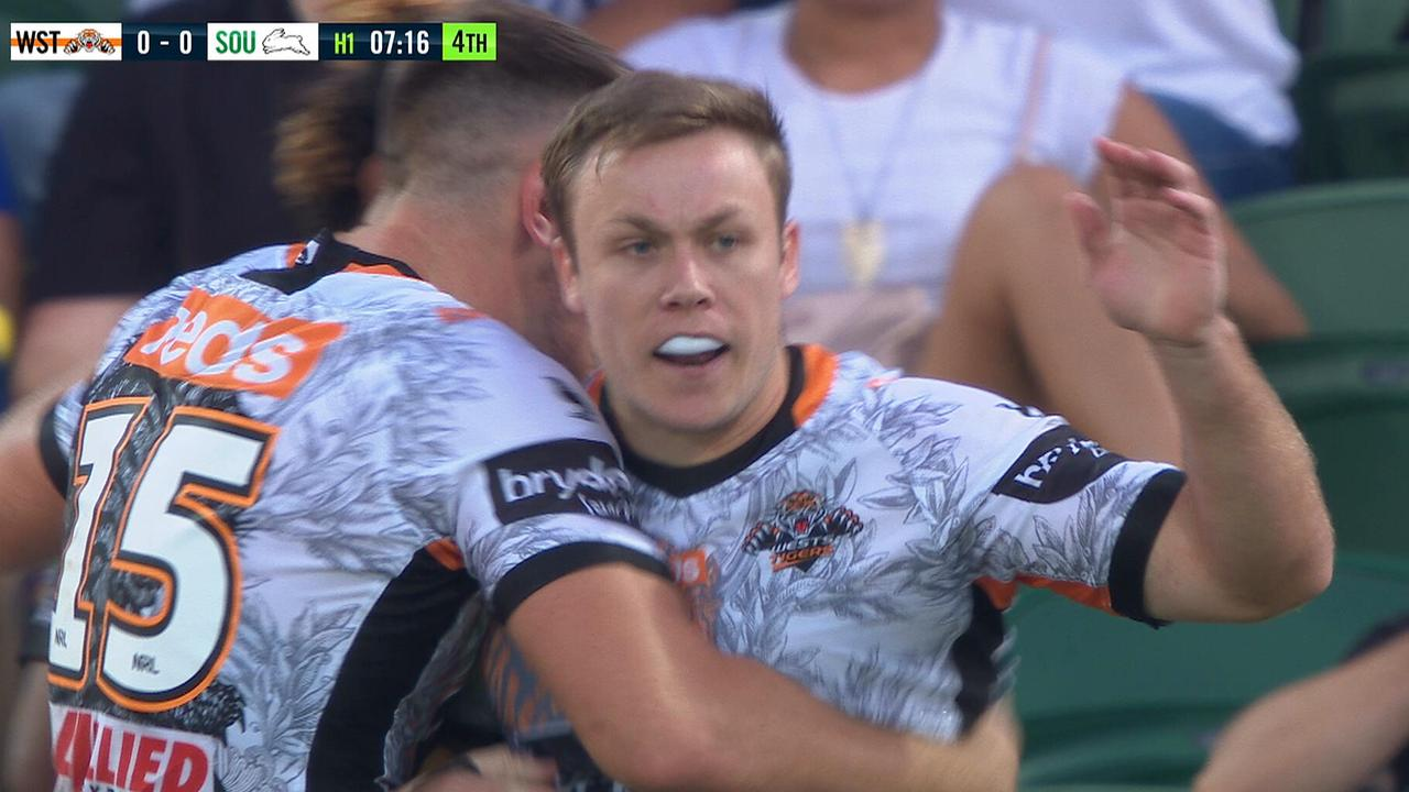 Billy Walters celebrates his first Tigers try