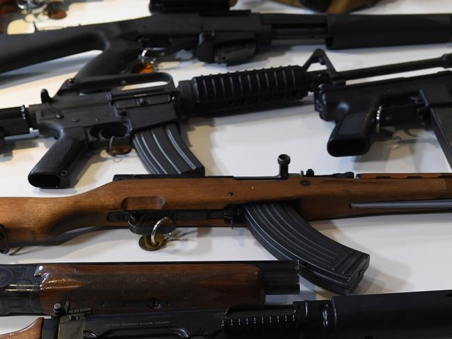 Illegal guns displayed at Victorian Police Headquarters in Melbourne last year after two new police teams were appointed to probe the origins of illegal firearms. Picture: Julian Smith / AAP Image