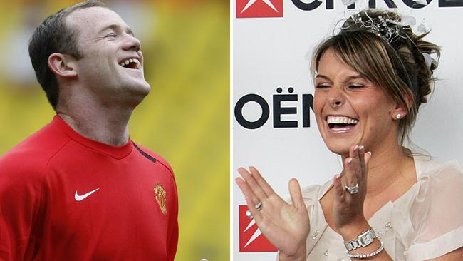Wayne Rooney and his wife, Coleen. Picture: AFP PHOTO / PAUL ELLIS (photo R) AFP PHOTO / ADRIAN DENNIS (photo L)