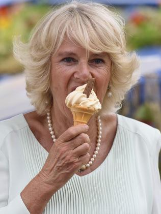 Camilla dosing up on her calcium. Image: Getty