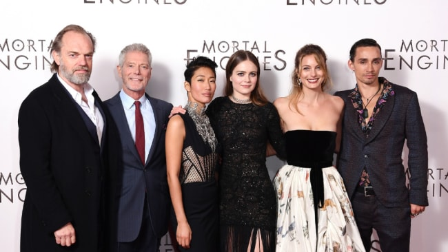 Leila George on the red carpet with her Mortal Engines co-stars. Photo: Getty