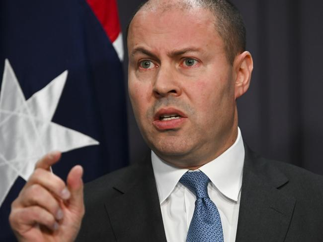 Treasurer Josh Frydenberg speaks during a press conference on the Final Budget Outcome 2018-19 at Parliament House in Canberra. Picture: Lukas Coch/AAP