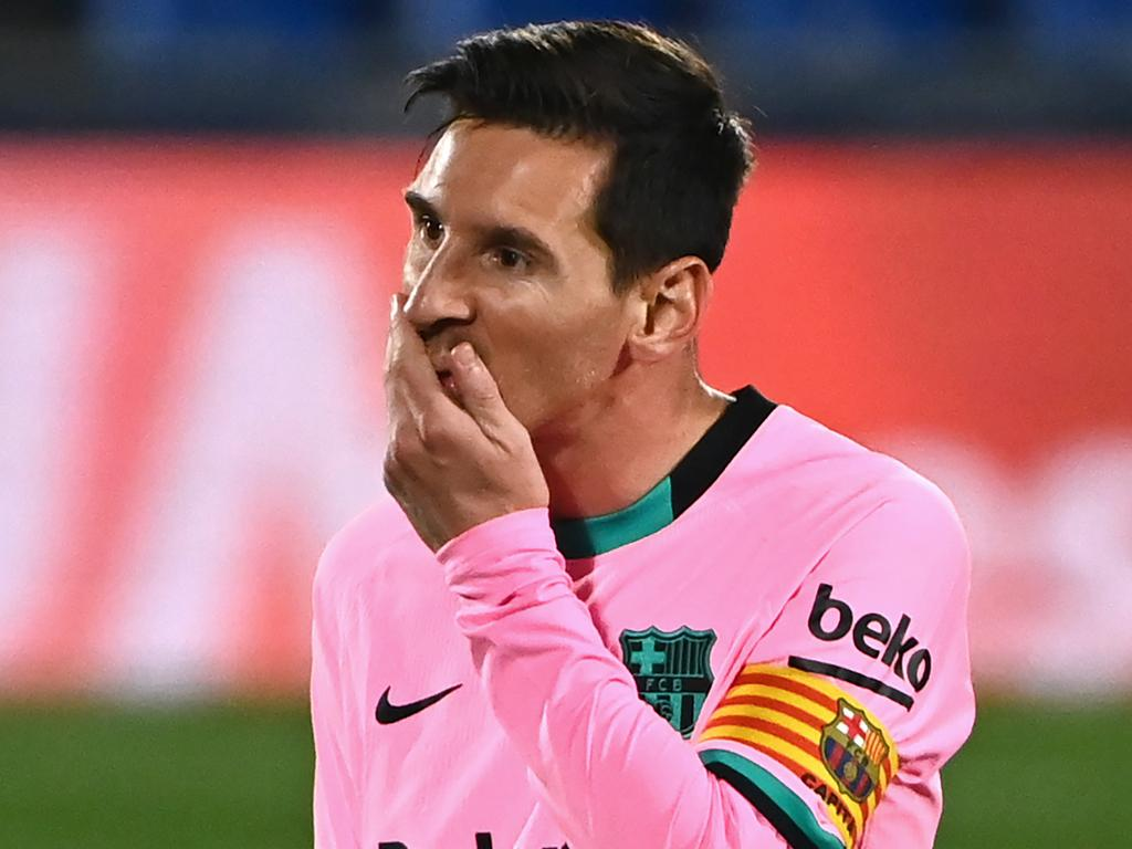 Barcelona's Argentine forward Lionel Messi gestures during the Spanish League football match between Getafe and Barcelona at the Coliseum Alfonso Perez stadium in Getafe, south of Madrid, on October 17, 2020. (Photo by GABRIEL BOUYS / AFP)