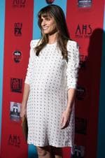 "Pregnant actress Amanda Peet attends FX's ""American Horror Story: Freak Show"" premiere screening on October 5, 2014 in Hollywood. Picture: Getty"