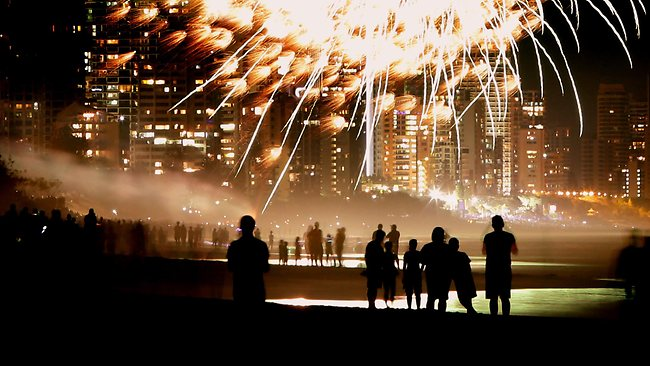 New Year's Eve celebrations at Broadbeach. Crowds gather on the beach to watch the fireworks. Picture: Luke Marsden