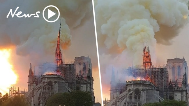 Notre Dame fire: Watch the devastating moment the spire collapses