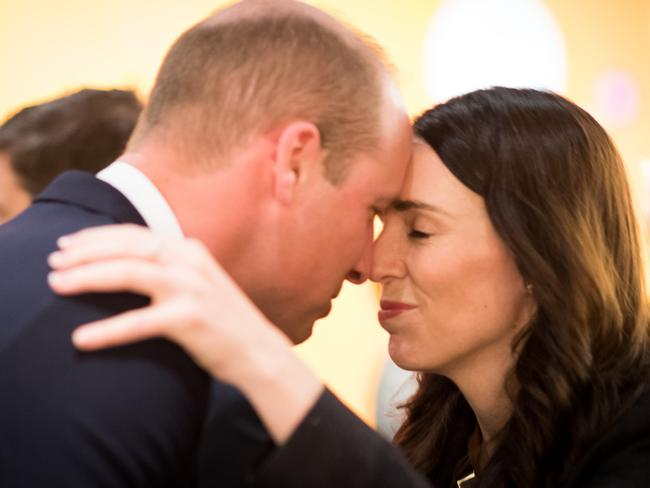 Jacinda Ardern greeted the prince with a Hongi, a traditional Maori greeting. Picture: Mark Tantrum/The New Zealand Government via Getty Images