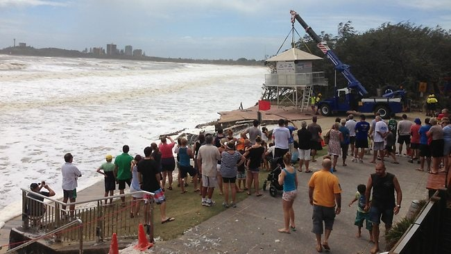 Removal of the Mooloolaba life savers tower on the Sunshine Coast. The nearby boat ramp had already been destroyed. Picture: Elise Poli