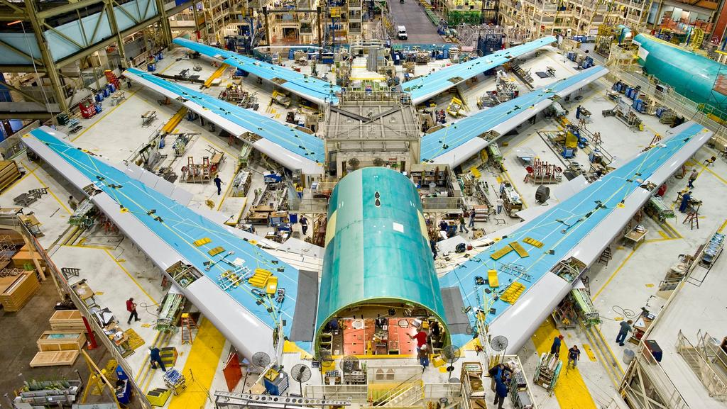Wing set construction for 747-8s in the 747 Factory in Everett, Washington.