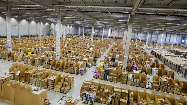 An Amazon warehouse in Koblenz, Germany. The online retailer is looking for sites in Sydney and Melbourne. Picture: Martin Leissl/Bloomberg.