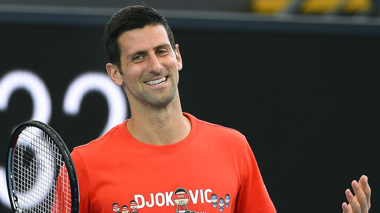 Novak Djokovic revs up the crowd during the 'A Day at the Drive' exhibition tournament.