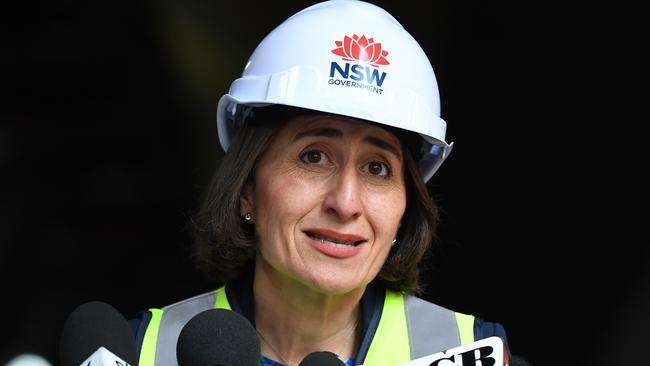Premier Gladys Berejiklian has talked up her government's huge transport infrastructure projects — some popular, some not so much. Picture: AAP