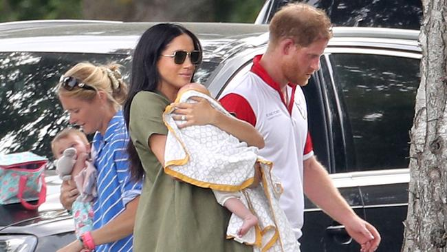 Meghan, Harry and Archie at a charity polo day in July. Picture: Chris Jackson/Getty Images