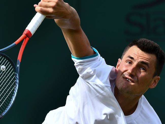 Tomic serves continues to struggle on the world stage.