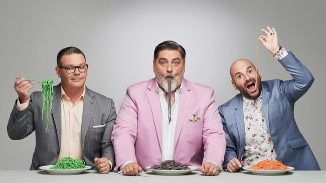 (From L — R) MasterChef hosts Gary Mehigan, Matt Preston and George Calombaris. None will return to the show in 2020.